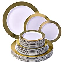 Silver Spoons Party Disposable 60 PC DINNERWARE Set   20 Dinner Plates   20 Salad Plates   20 Dessert Plates   Heavy Duty Dishes   Elegant Fine China Look   Upscale Wedding and Dining (Ritz - Gold)