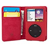 iPod Classic Case, Snugg Red Leather Leather Flip Case [Card Slots] Executive Apple iPod Classic Wallet Case Cover and Stand Legacy Series