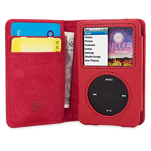 Snugg iPod Classic Case Leather Flip Case [Card Slots] Executive Apple iPod Classic Wallet Case Cover and Stand - Red - Legacy Series ()