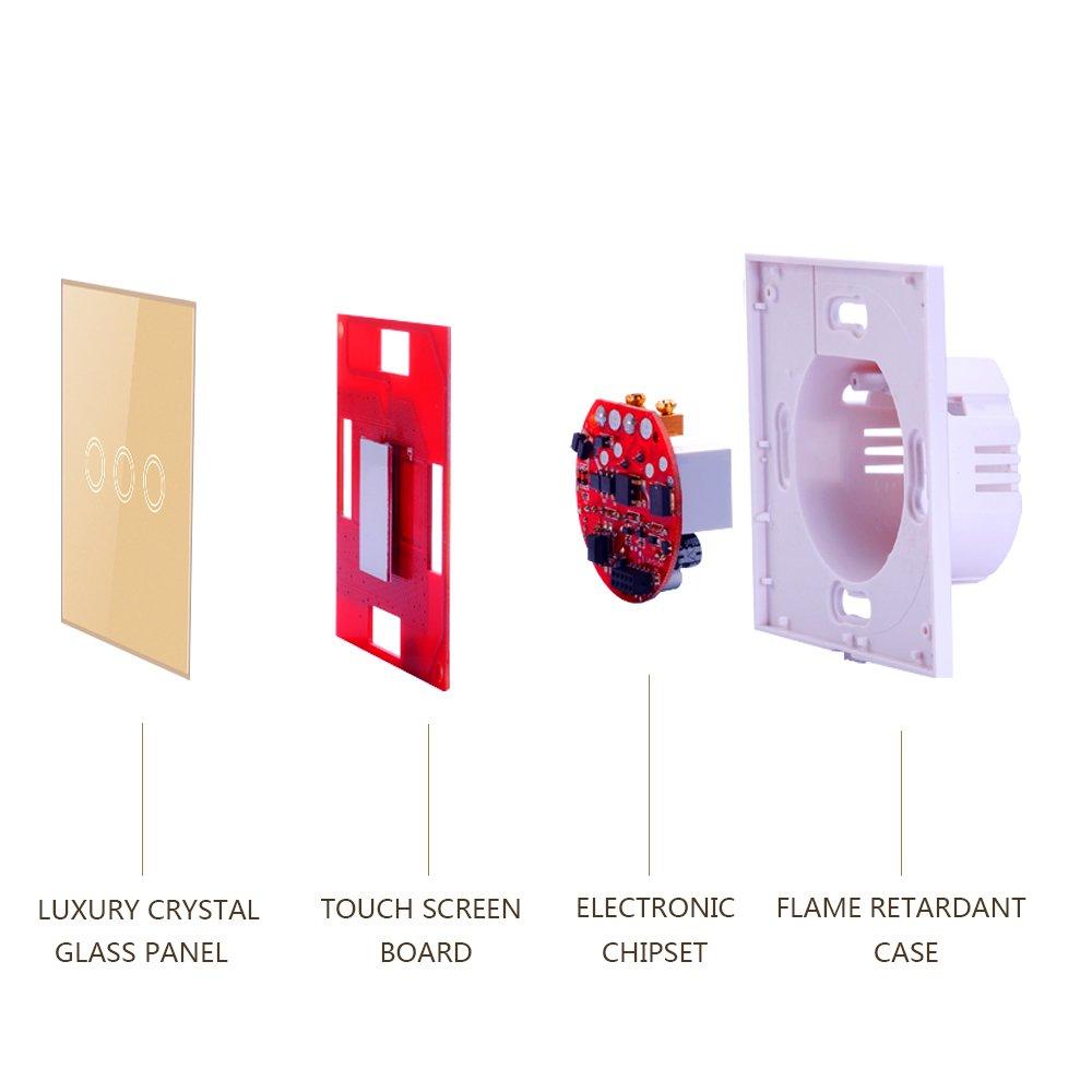 Panel t/áctil de vidrio templado,No se requiere l/ínea neutral LED Interruptor de luz de pared remoto inal/ámbrico Golden 2 gang Interruptor Tactil Inteligente de pared