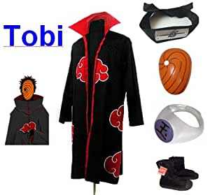 Cosplay Naruto Akatsuki Ninja traje de cosplay Tobi Set - Capa (XL: Tamaño 177cm-184cm) +Tobi diadema + ninjas Tobi máscara + Tobi anillo + zapatos