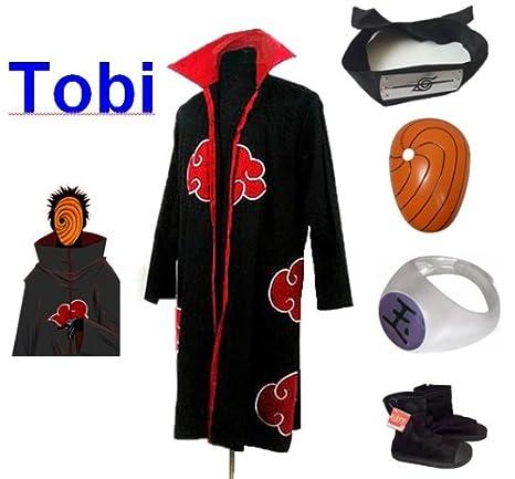 Sunkee Naruto Cosplay Akatsuki Ninja Tobi Traje - Capa (XL ...