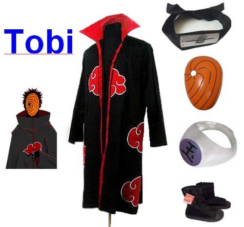 Sunkee Naruto Cosplay Akatsuki Ninja Tobi Traje - Capa (XXL ...