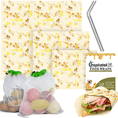 Reusable Beeswax Food Wrap (Assorted 3 Pack) + Bonus Stainless Steel Straws & Produce Storage Bags - Bees Wax Wrappers Perfect for Sandwich - Organic Bee Paper - Cloth Cling Wraps Plastic Alternative