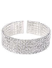 EleQueen Women's Silver-Tone Austian Crystal Open End Wide Elegant Party Cuff Bangle Bracelet Clear