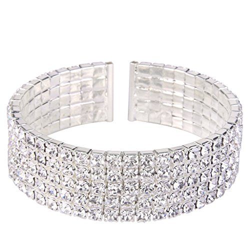 [EleQueen Women's Silver-tone 5-row Austian Crystal Open End Wide Elegant Party Cuff Bangle Bracelet] (Elegant Bride Costumes)