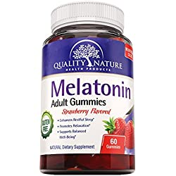 Melatonin 5mg, Supplement for Sleep Aid, Yummy Gummies, Strawberry Flavored, ALL Natural, Gluten FREE, Kosher & Halal Certified, offered by Quality Nature.
