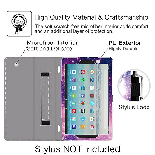 Ztotop Folio Case for Amazon All-New kindle Fire HD 10 Tablet (2017 Release, 7th Generation) - Smart Cover Slim Folding Stand Case with Auto Wake / Sleep,Galaxy Photo #4