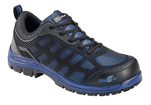 Nautilus 1821 Slip Resistant Comp Toe No Exposed Metal EH Athletic Shoe,Black/Blue,12 W US