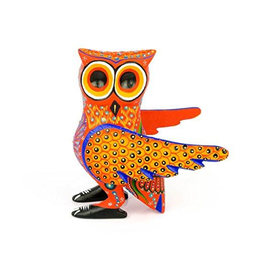 - Orange OWL Oaxacan Alebrije Wood Carving Mexican Folk Art Animal Sculpture Painting