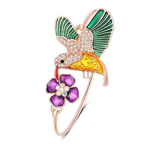 NOUMANDA Colourful Hummingbird Flower Adjustable Open Cuff Adjustable Wire Bangle Bracelet (Rose Gold)