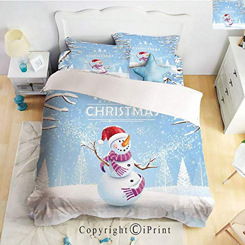 Homenon Classic Sheets 4 Piece Bed Sheet Set,Cute Snowman in a Snowy Winter Day with Xmas Hat Frosty Noel Kids Nursery Theme,White Blue,Twin Size,Softest Bed Sheets and Pillow Cases 4 Piece Frosty Bath