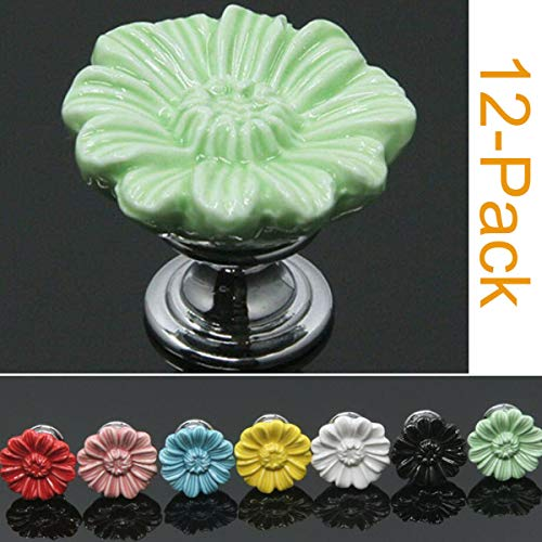 SunKni 12 Pack Ceramic Cabinet Knobs for Girl, Super Sturdy Flower Handles Pulls for Dresser Drawers Kitchen Cupboard Furniture Closet Door Prime Quality Floral Knob (Chrysanthemum, Green) (Best Quality Kitchen Cabinets)