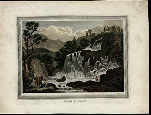 Tivoli Italy Waterfall Castle Scenic View ca.1805 antique hand color print