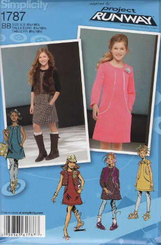 Simplicity 1787: Girls' and Girls' Plus Dresses Project Runway Collection Sewing Pattern, Size BB (8 1/2-16 1/2)