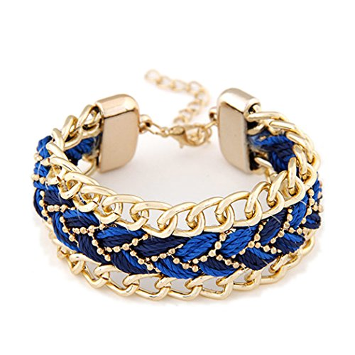 Duo La Fashion Multilayer Charm Braided Adjustable Lady Wrist Bracelet