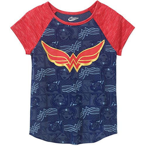 DC Super Hero for Girls T Shirt Wonder Woman WW Shield Logo Tee (10-12 Large)