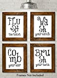 Bathroom Quotes and Sayings Art Prints - Set of Four Photos (8x10) Unframed - Great Gift for Bathroom Decor