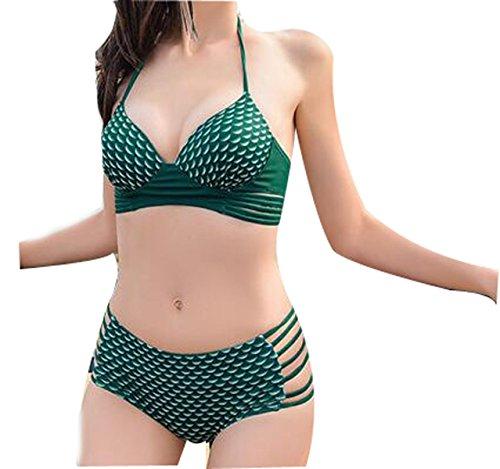 TAOZHN Bikini Femenino S M L XL XXL Deportes Acuáticos Traje De Baño Fitness Bikini Elegante Oscuro El Turismo Traje De Baño Green