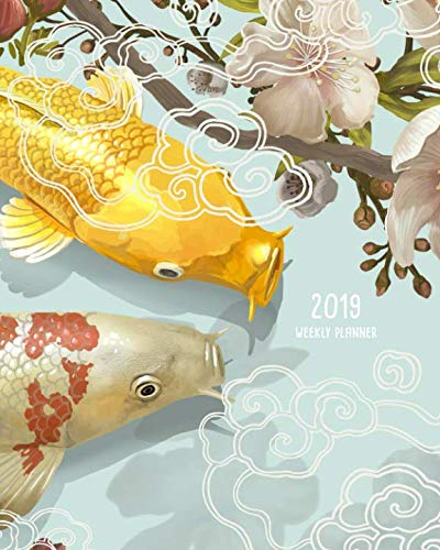 2019 Weekly Planner: Two Japanese Koi Fish Swimming Pink Flowers, Weekly and Monthly Standard Professional Calendar | 1 January - 31 December 2019