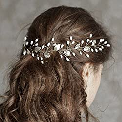 Artio Wedding Hair Vine Accessory Bridal Headpiece for Bride and Bridesmaids (Silver)