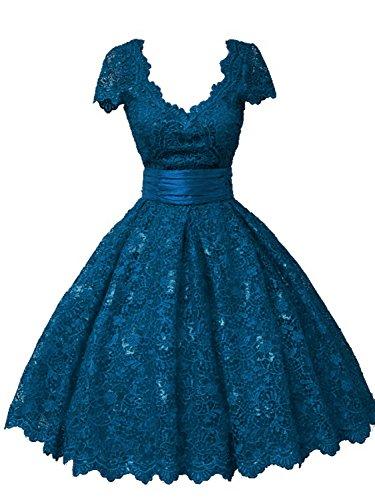 Kurzarm A V Ausschnitt Kurz Spitze Ballkleider Jade Partykleid Abendkleid Linie Damen IxzfpnqOw