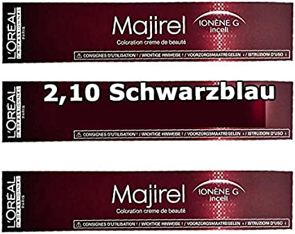 3 x Loreal majirel 2,10 Negro Azul Crema Color del pelo – 50 ml
