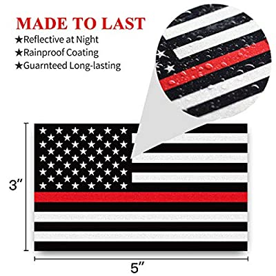 Anley 5 X 3 inch Thin Red Line US Flag Decal - Black White and Red Reflective Stripe American Flag Car Stickers - Support Firefighters and EMTs (3 Pack): Automotive