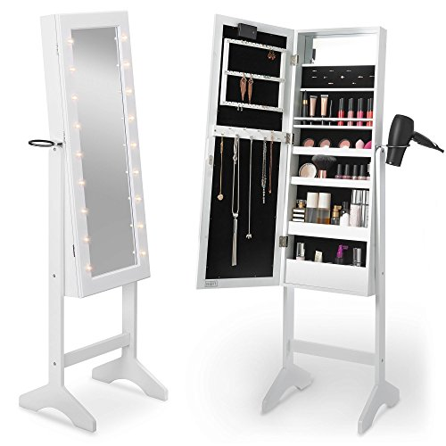 Beautify Mirrored Jewelry Makeup Armoire with LED Lights Floor Standing Organizer Cabinet with Internal and External Mirror White