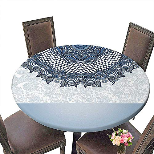 PINAFORE Round Tablecloth Islamic Vintage Floral Template Frame for Greeting Card or Wedding Invitation in eaststyle for Kitchen 47.5