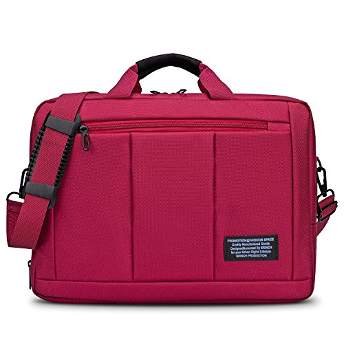 Convertible Laptop Messenger Bag Backpack,BRINCH Multi-Compartment Mens/Womens Portable Travel Business Shoulder Bag Briefcase College Laptop Case Backpack for Up to 15.6 Inch Laptop Computer,Red
