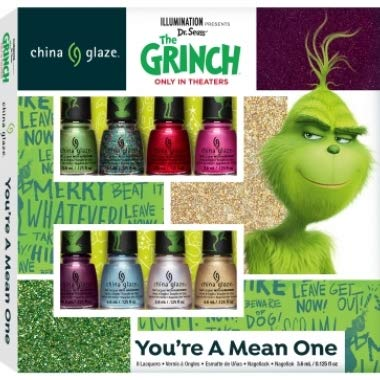 China Glaze Nail Lacquer - The Grinch Holiday 18 Collection Mini Kit 8pcs x 0.125oz - Booklet ()