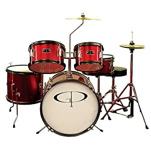 gp percussion gp55 5 piece junior drum set with cymbals and throne metallic red. Black Bedroom Furniture Sets. Home Design Ideas