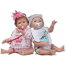 Reborn Dolls NKol Lifelike Newborn Realistic Baby Doll (Silicone Full Body, Waterproof), 20inch 50cm Weighted Baby Girl or Boy Anatomically Correct Toys (Twins Doll)