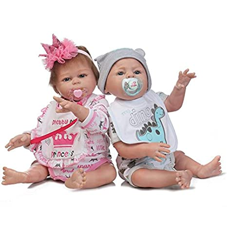 Amazon.com: Pinky Pair of 50cm 20Inch Vinyl Silicone Full Body Doll ...