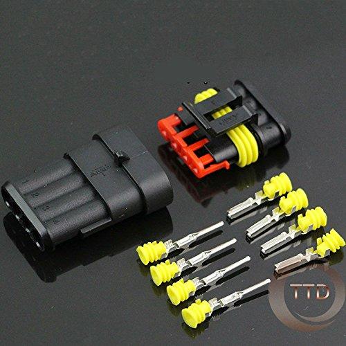 Ochoos 5 Kits 4P Waterproof Automotive Wire Connector Plug Car Motorcycle HID 4P auto Connector: DIY & Tools