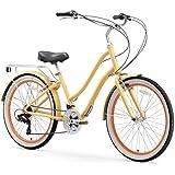 "sixthreezero EVRYjourney Women's 21-Speed Step-Through Hybrid Cruiser Bicycle, Cream w/Black Seat/Grips, 26"" Wheels/ 17.5"" Frame"