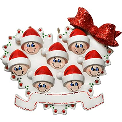 60eeb0122ec Personalized Blended Family of 7 Christmas Ornament for Tree 2018 -  Children Friends in Santa Hat