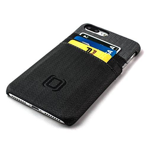 Étui iPhone 7 Plus Cartes avec bloc RFID de Dockem- Étui Portefeuille minimaliste en cuir synthétique avec finitions en toile ; Étui Ultra fin, professionnel, chic, avec trois emplacements facilement