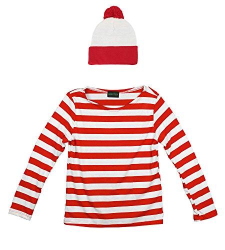 [Waldo Shirt and Beanie Set for Halloween Costume - Red White Stripe - Women L] (Wenda Adult Costumes)