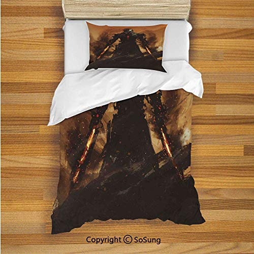 SoSung Fantasy World Kids Duvet Cover Set Twin Size, Robot Warrior Terminator at War Fire Sword Weapon Paint Style Futuristic 2 Piece Bedding Set with 1 Pillow Sham,Tan and Black