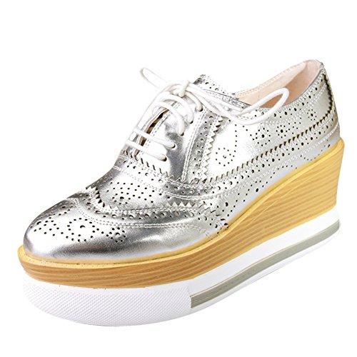 Silver Platform Oxford up Lace Wedges Latasa Shoes Women's nHq07wqTtI