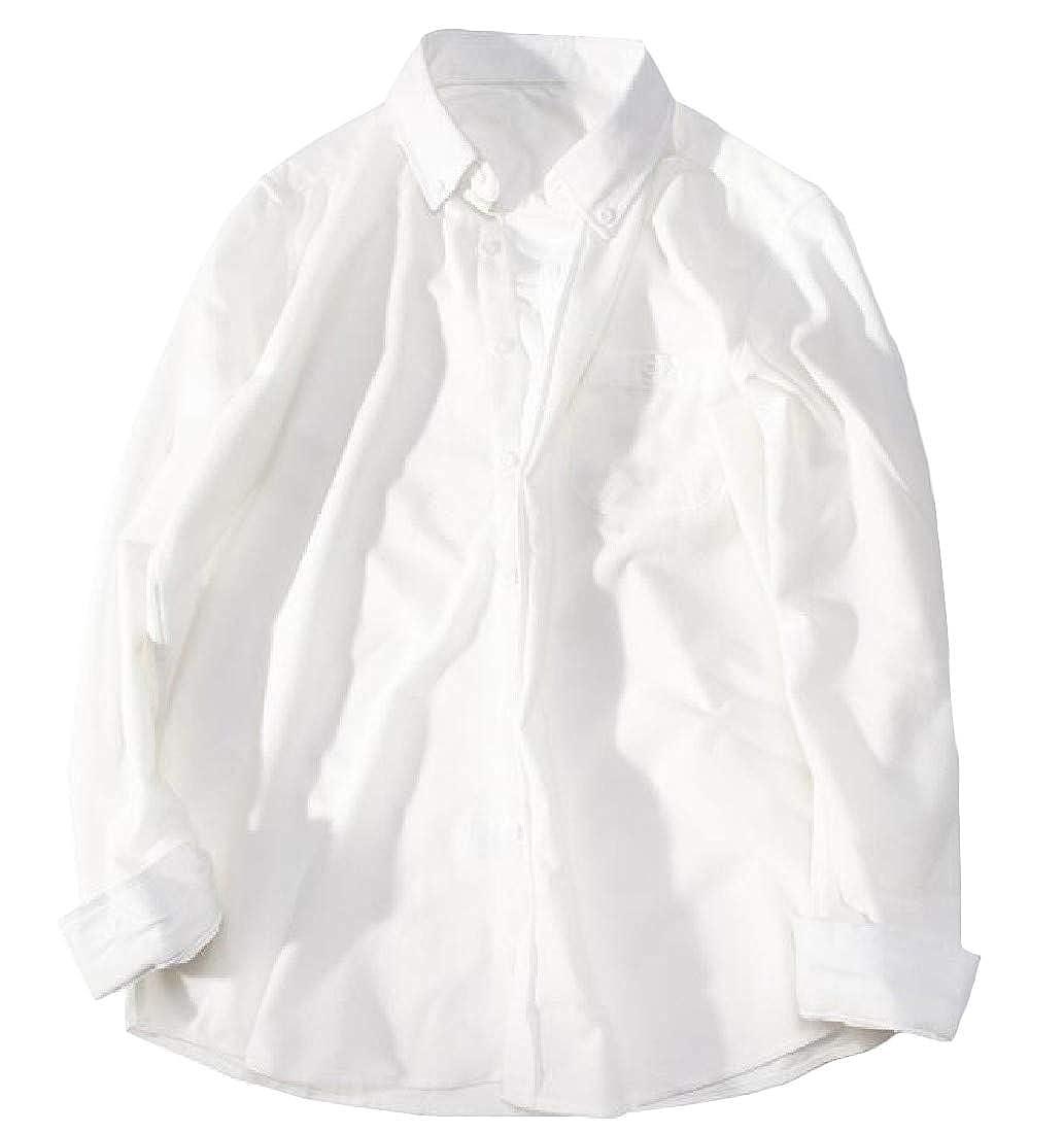 Lutratocro Men Pure Color Corduroy Casual Long Sleeve No Iron Shirt