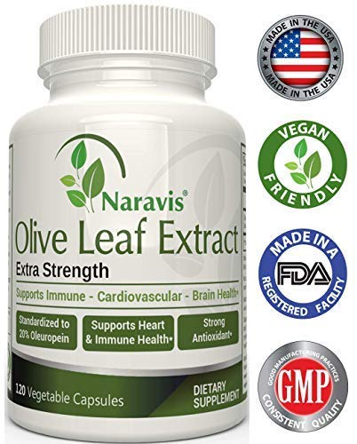Naravis Olive Leaf Extract - 750mg - 120 Veggie Capsules - 20% Oleuropein - Non-GMO - Immune Support - Cardiovascular Health - Antioxidant -