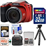 Minolta MN35Z 1080p 35x Zoom Wi-Fi Digital Camera (Red) with 32GB Card + Case + Flex Tripod + Kit