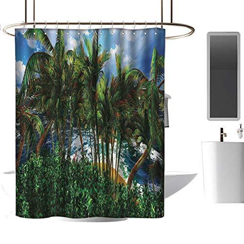 Denruny Shower Curtains Ocean Theme Hawaiian,Hawaii Island Palm Trees Forest Greenery Cloudy Summer Sky Sunlight Seascape,Green Blue Brown,W72 x L84,Shower Curtain for Small Shower stall