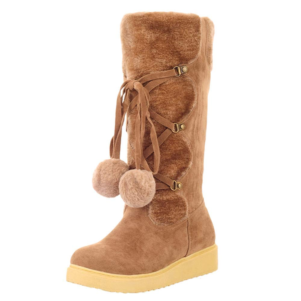 Oudan Stiefel Damen Schuhe Frauen Wildleder Haarballen Round Toe Slip-On Schuhe Warm Middle Tube Snow Stiefel (Farbe   Braun Größe   35 EU)