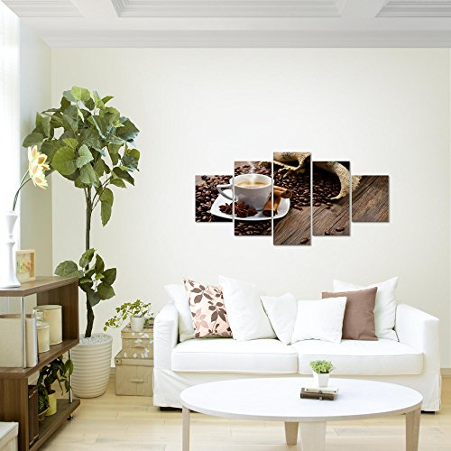 prestigeart-Bilder-Kaffee-Coffee-Wandbild-Vlies-Leinwand-Bild-XXL-Format-Wandbilder-Wohnzimmer-Wohnung-Deko-Kunstdrucke-Braun-5-Teilig-100-MADE-IN-GERMANY-Fertig-zum-Aufhngen-501852a