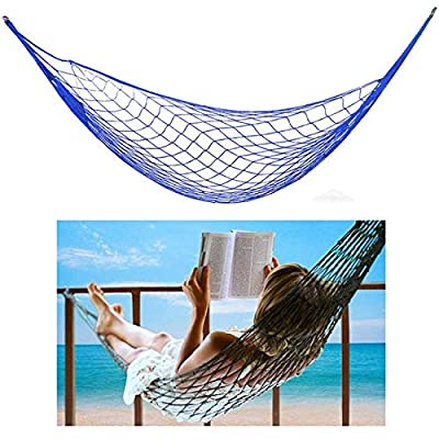 Apontus 40327 Single Nylon Rope Hammock, Blue : Garden & Outdoor