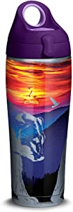 Tervis Mountains Bears Scene Stainless Steel Insulated Tumbler with Purple Lid, 24oz Water Bottle, Silver